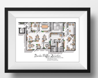 Tv floor plans home portraits and more by drawhouse on etsy the office us tv show office floor plan dunder mifflin scranton office layout gift for the office tv show fan the office poster malvernweather Images