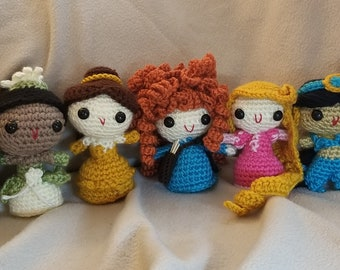 Handmade Disney Princess Collection//Crochet Doll//Gifts for Her//Collectible Miniature Toys//Amigurumi//Baby Shower Gift//Art Doll//