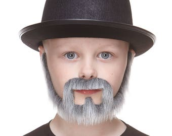 High quality Small Squatter gray with white fake beard, self adhesive (S133-MB)
