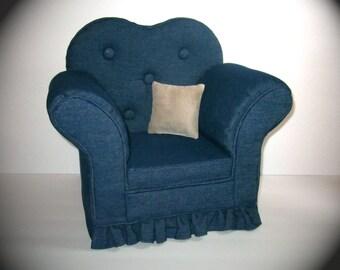 """Newborn or 18"""" Doll Denim Chair"""
