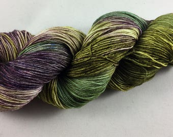 hand dyed sock yarn, colorway AFRICAN VIOLET, superwash merino wool and nylon, fingering weight yarn