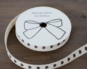 5 Meters of grey heart ribbon