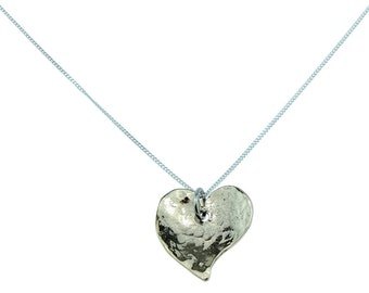 8 Year Anniversary Off-shaped Hammered Bronze Heart Pendant - 8 Year Anniversary Gift Idea