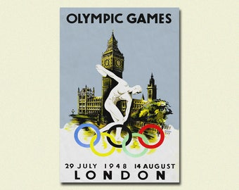 London Olympic Games 1948 - Vintage Sport Poster London Poster Olympic Posters Gift Idea Travel Wall Art England Poster