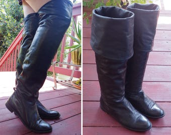 MIDNIGHT 1980's 90's Vintage Soft Black Leather Tall Riding Boots with Cuffs // size 7.5 M 38 // Made in ITALY