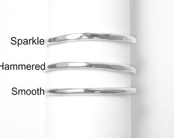 Sterling Silver Stacking Rings, Minimalist Stackable Ring, Your Choice of Hammered, Textured, or Smooth Finish