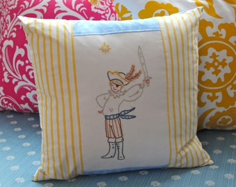 Pirate Pillow 16 x 16 Hand Embroidered with Insert