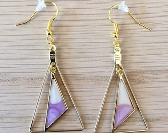 Earrings dangling geometric triangle enamel sky blue, white