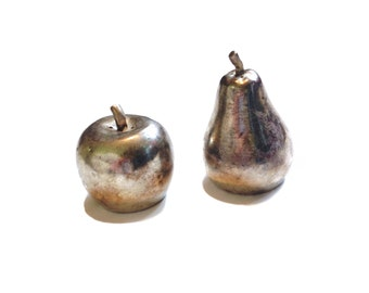 Silver Plated Apple Salt and Pepper Shaker Set