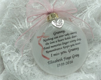 Memorial Ornament Grandmother Granny Nothing Can Ever Take Away the Love Personalized Free Charm Mother Father Grandfather