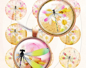 Dragonflies bottle cap images 4x6 inch digital collage sheet 1 inch round images printable downloads