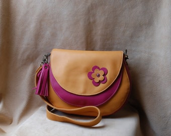 Pink and camel woman leather handbag