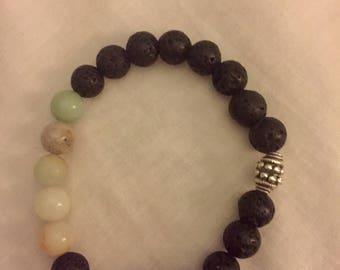 Aromatherapy bracelet with lava beads and Amazonite gemstones.