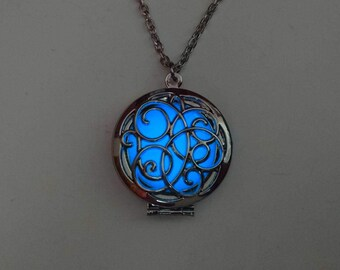 Blue Glowing Necklace - Easter Gift - Teen Gift - Glowing Pendant - Valentines Day - Glow in the Dark Necklace - Gifts for Her - Girlfriend