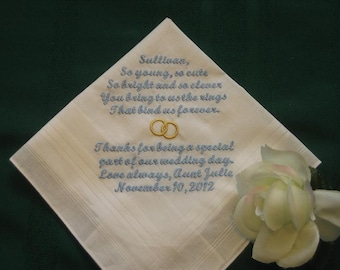Personalized wedding handkerchief for the Ring Bearer. ring boy, bridal handkerchief 135S