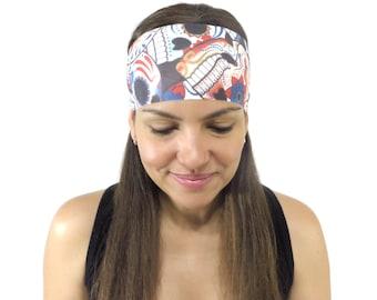 Yoga headband,Skulls Headband,Fitness Headband,No Slip Headband,Sugar Skulls,Workout Headband,Wide Stretch Headband,Running Headband S158