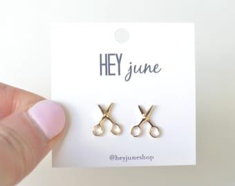 scissor earrings, gold scissor earrings, scissor studs, craft studs, craft earrings, earrings for sewers, silver scissor earrings