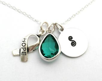 Cancer of the ovary awareness,Ovarian cancer teal necklace,Hope for cancer,Hope jewelry,Teal hope,Supporting cancer patients,Awareness