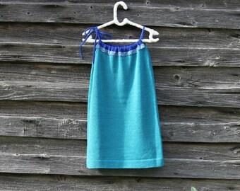 Aquamarine cotton boho  summer dress for toddler girl / Turquoise  summer dress with spaghetti straps / Sleeveless blue knit summer dress