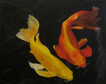 "Koi Fish Oil Painting, Original Oil Painting, ""Golden Kois"" (24"" x 30"")"