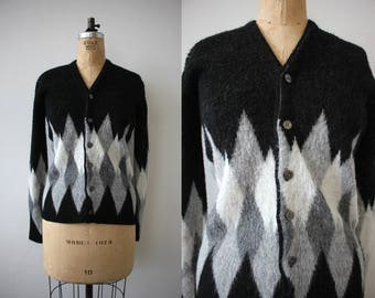 vintage 1960s sweater / 60s black & gray cardigan / 60s harlequin sweater / 60s cardigan / 60s rat pack sweater / medium