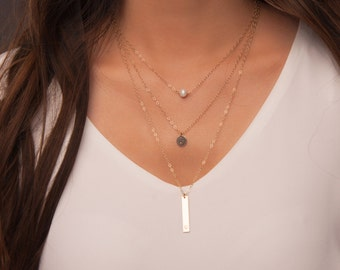 Dainty Layered Necklace Set in Sterling Silver or Gold Fill, Personalized Layered Necklaces, Set of necklaces with bar, disc and pearl
