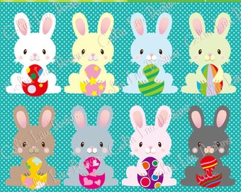 Cute Easter Bunny clipart(E007), Easter Digital Clipart, Easter Egg, rabbit, bunny