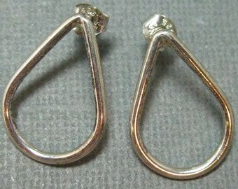 ON SALE - Petite sterling teardrop  studs, square silver post earrings with brushed  or shiny finish