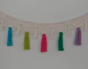 Cream macrame banner with colorful tassels