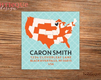 Home States Personalized Return Address Labels with Color Options