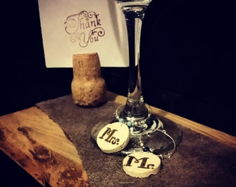 Mr. & Mrs. Wine Cork Charms,Personalized Wedding Date Charms,His and Hers Cork Charms,PDX Made,Corky Friendz,Wedding/Bridal Shower Gift