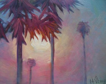 "Tropical Sunrise Painting, Small Oil Painting, Palm Trees Painting, 6x8"" Oil on Panel, Free Shipping in US"