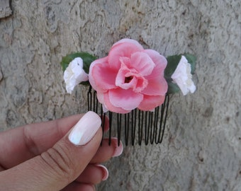 pink rose flower comb, flower comb, pink rose comb, Pink Rose Flower Hair Comb, Fae Flower comb, Flower Hair Piece, rose crown