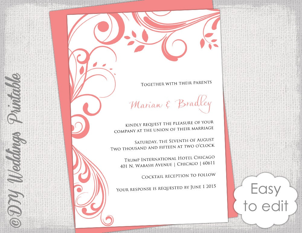 Coral Wedding Invitation Template Scroll - Wedding invitation templates: wedding invitation template download and print