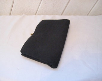 Black clutch with side pockets, formal evening bag, 50s 60s, mid century, bags and purses