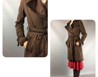 Roberto Cavalli Brown Trench 90s Vintage Cavalli 90s Trench Coat Designer Trench Coat Cavalli Cotton Trench Vintage Raincoat Logo Buttons