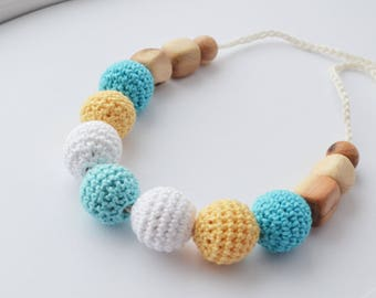 Yellow blue  Crocheted breastfeeding necklace - Teething Necklace - Wooden Big Beads - Wooden Nursing necklace