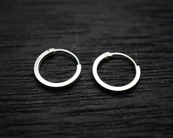 14 mm Sterling Silver Hoop Earrings Silver Hoop Earrings Tiny Hoop Earrings Hoop Earrings Small Hoop Earring Silver Hoop Tiny Hoops L-HSM002
