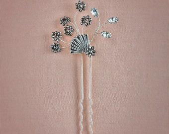 Sakura Hair Pin - Bridal Headpiece, Silver Hair Pin, Bridal Hair Pin, Floral Hair Pin, Crystal Hair Pin