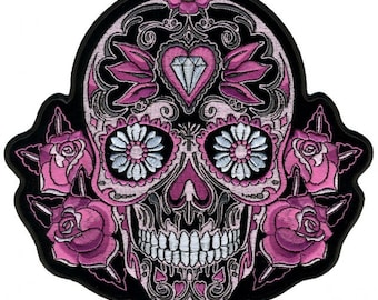 """Pink Sugar Skull And Roses, High Quality Iron-on / Saw-on, Heat Sealed Backing Rayon PATCH - 4"""" X 4"""""""