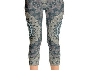 Capris, Mid Rise Printed Leggings for Women, Tribal Yoga Pants, Mandala Patterned Boho Leggings, Shaman Clothing