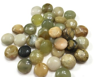 58 pieces 10mm Genuine Green Jade Coin Beads, Natural Jade, Destash Beads