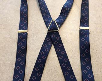 Vintage Pelican Suspenders /Braces - Navy with Diamond Print