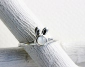 Small Bunny White Moonstone Ring, Sterling Silver, Milky White Bunny Fine Jewelry,MADE TO ORDER