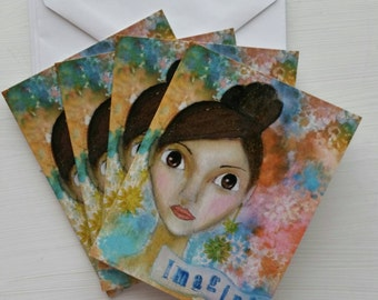 """Set of 4 Blank Note Cards """"Imagine"""""""