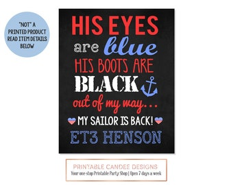 Welcome Home Wife Spouse Husband Sign Red White Sailor Navy Homecoming Back from Deployment Sign Chalkboard Printable Custom