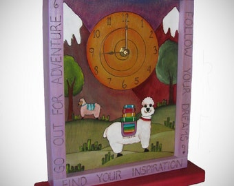 LLAMA CLOCK, Ready to ship, handmade wood clock, Alpacas, Llama's,  nursery clock, desk clock, mantle clock, gifts for her, gift for him
