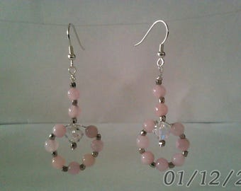 Pink Dyed Quartzite hoop dangle Earrings with Swavorski Crystal and Nickel polish faceted beads