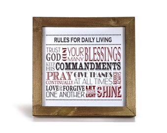 Rules for Daily Living - Cubicle Frame/Office Print/Cubicle Decor/Home Decor