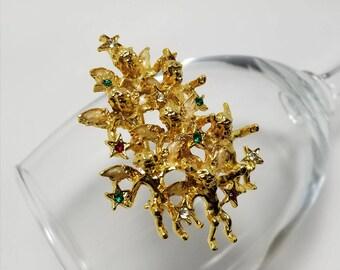 Cherubs And Stars Christmas Tree Pin